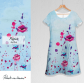 Dress / poppies / Sky blue