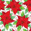 Seamless pattern with contour Poinsettia flower or Christmas Star in red and green leaves on the white background.