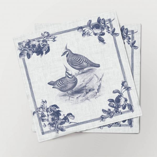 Napkins set /  Toile de Jouy Birds / Bronzewing
