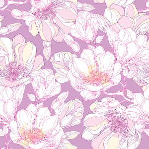 Seamless pattern with ornate magnolia flower, buds and leaves in white on the pastel background.