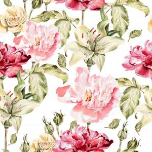Pattern with flowers peonies and lilies.