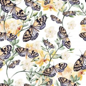 Watercolor pattern with  orchids, plants and butterflies. Illustration