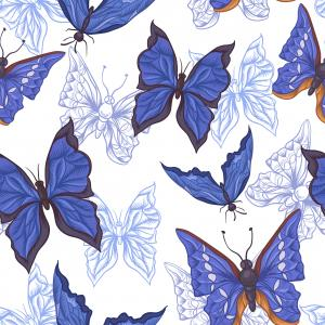 Vintage Pattern with Blue Butterflies