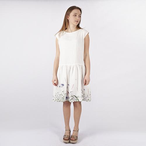 Wrinkled white linen dress with cornflowers pattern