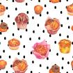 Pattern with muffins on polka dot background