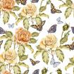 Seamless pattern with watercolor flowers and butterfly. Rose.