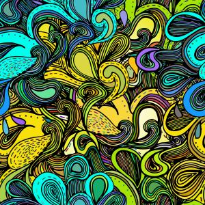 Colorful abstract hand-drawn design, waves background