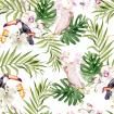 Bright colorful watercolor pattern with leaves of palms and monsters. Hibiscus flowers and orchid, Parrot cockatoo and toucan.