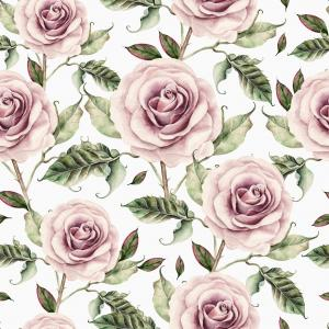 Pattern with watercolor realistic rose.