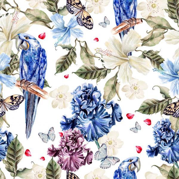 Water color pattern with tropical flowers and a parrot. Illustration