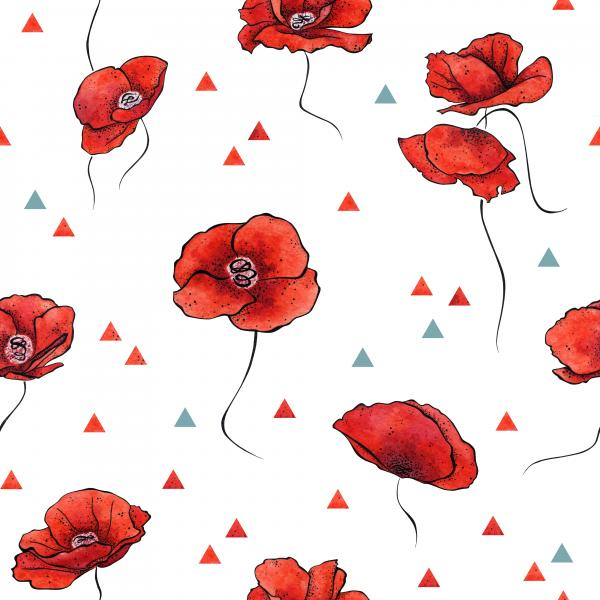Watercolour poppies with triangles