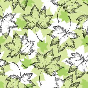 Seamless pattern with dotted black leaves.