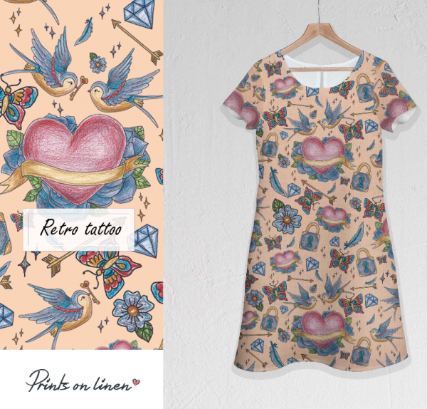 Dress / Retro tattoo print / nude colour