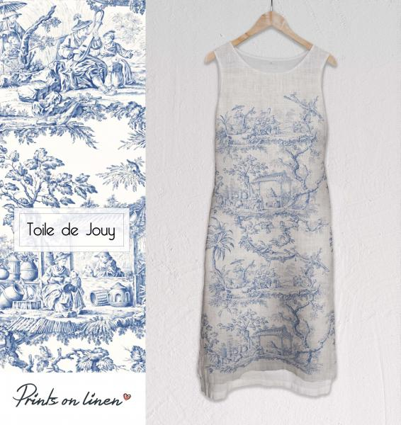 Long linen dress / Toile de Jouy