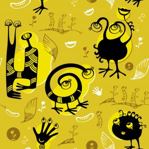 Seamless pattern with black funny monsters.