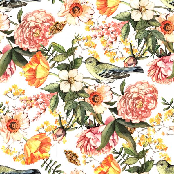 Watercolor vintage pattern with delicate flowers and birds