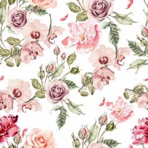 Seamless pattern with orchid flowers, roses, peony and leaves.