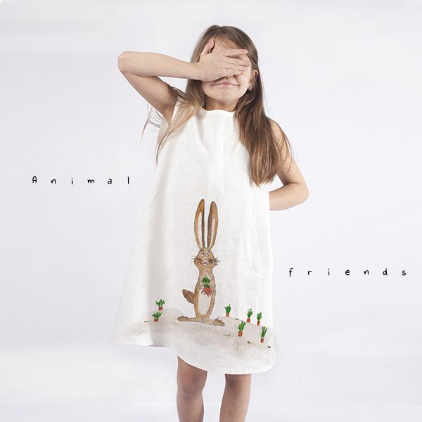 Girls dress with animated rabbit