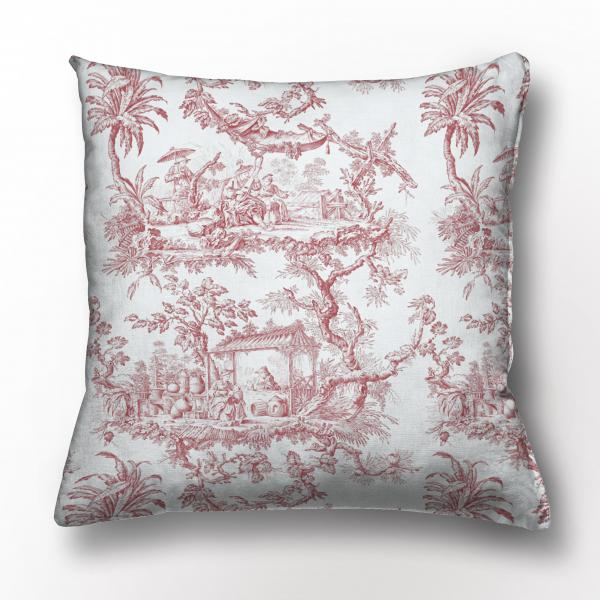 Cushion cover /  Toile de Jouy / Red edition