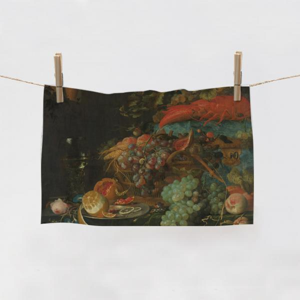 Kitchen Towel / Still Life with Fruit and a Goldfinch