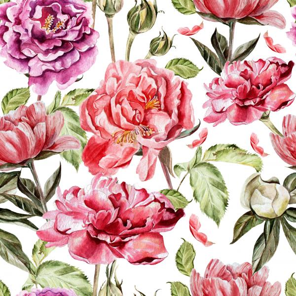 The pattern with peony flowers and buds of roses