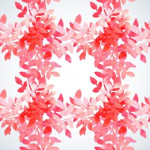 Romantic watercolor pattern with leaves