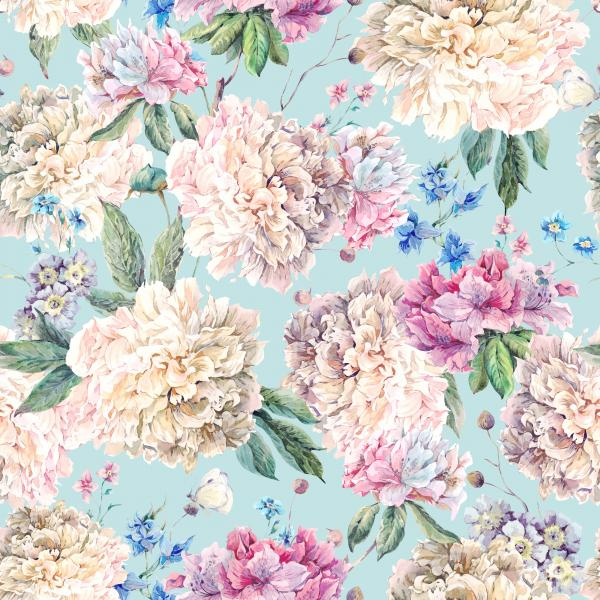 Floral Watercolor Pattern with White Peonies