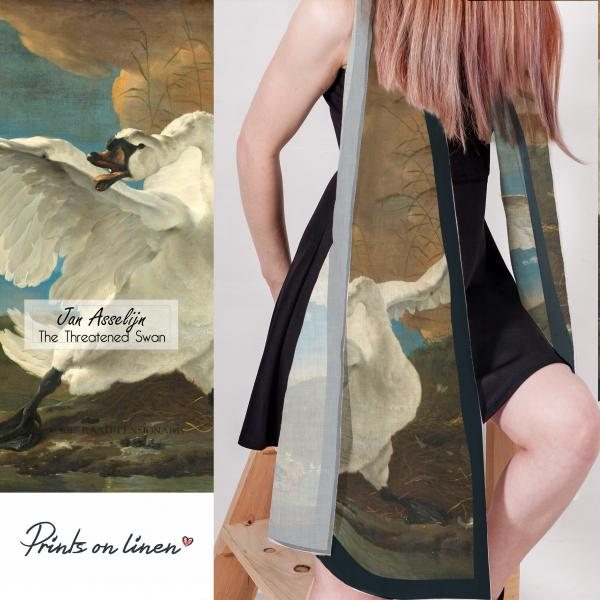 Linen scarf / The Threatened Swan