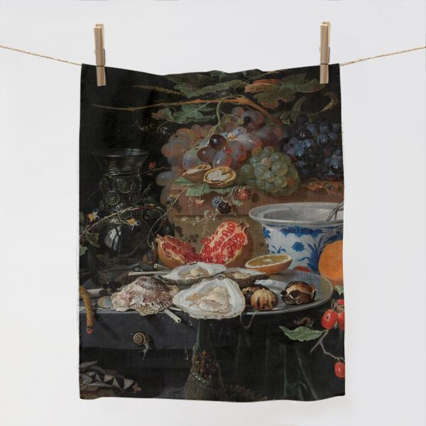 Kitchen Towel /Still Life with Fruit, Oysters, and a Porcelain Bowl