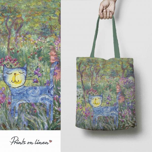 Linen tote bag / Classic Art & Cat
