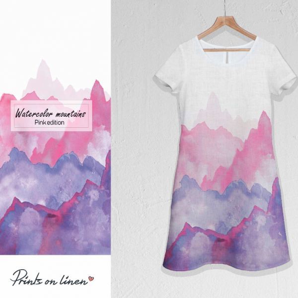 Dress / Watercolour Mountains / Pink edition