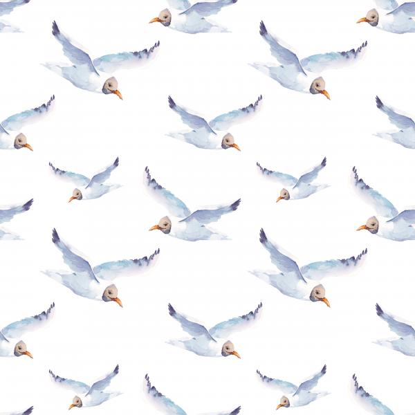 Watercolor pattern with seagulls