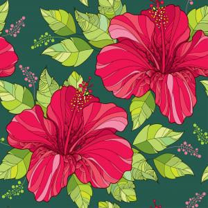 Seamless pattern with Chinese Hibiscus in red and green ornate leaves.