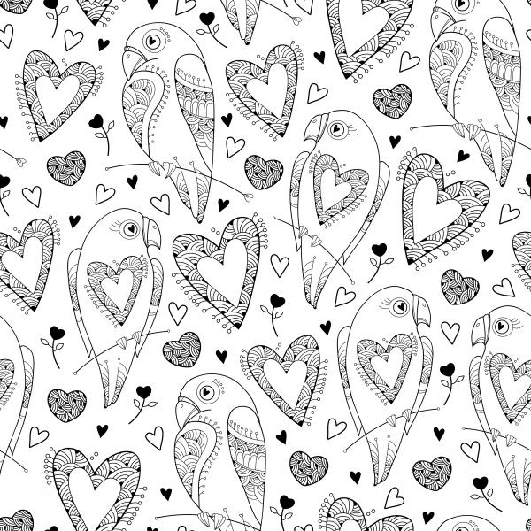 Seamless pattern with ornate parrot and heart on the white. Design elements and holiday symbols in contour style for Valentine day and coloring book.