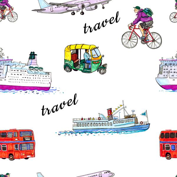 Travel pattern with lettering