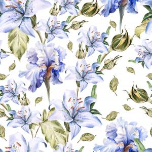 Pattern with lily and iris