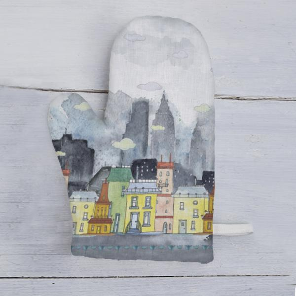 "Linen kitchen glove ""Colorful houses"""