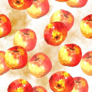 Watercolor pattern with red apples