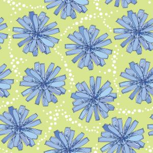Seamless pattern with ornate chicory flower in blue on the green background with dots.