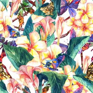 Tropical pattern with butterflies and exotic flowers