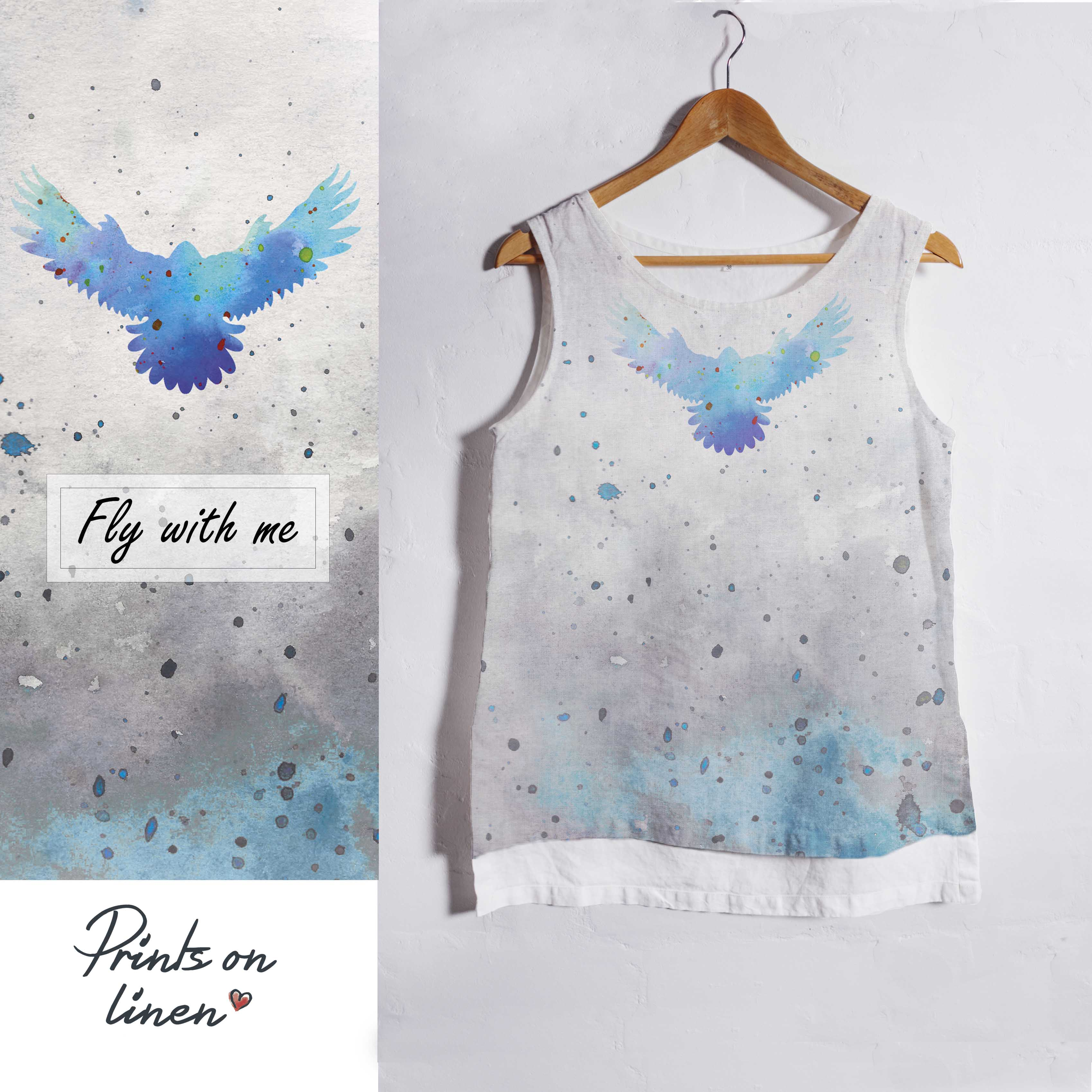 17447ec38 Prints on linen - Tank top - Linen tank top / Fly with me